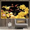Tranh đàn cá và hoa sen vàng 1455TCK