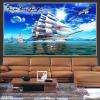 Tranh 3D con thuyền trắng 108TB